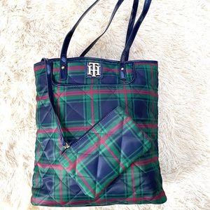 TOMMY HILFIGER•signature quilt plaid tote bag EUC